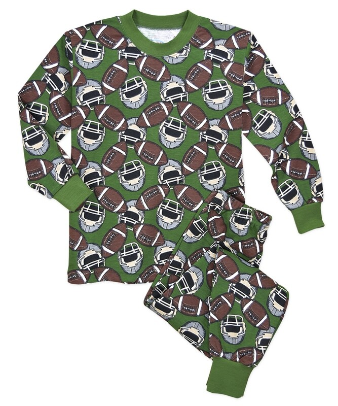 Saras Prints Super Soft Football PJ Pajama Set Size 2, 2 left