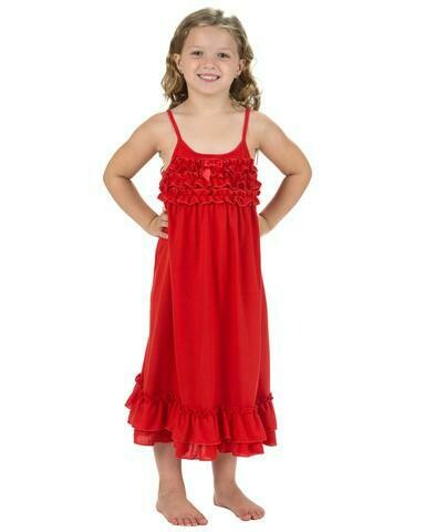Laura Dare Red Nightgown with  Ruffle PJ Nightgown Size 2, 4         Last 1 ea