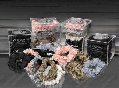 Silk Hair Scrunchies 6 Per Pack
