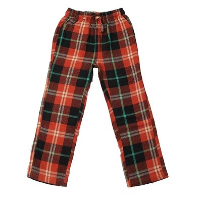 Boys Plaid Burnt Orange Color Light Flannel Pajama Lounge Pants Size 2- 16/18
