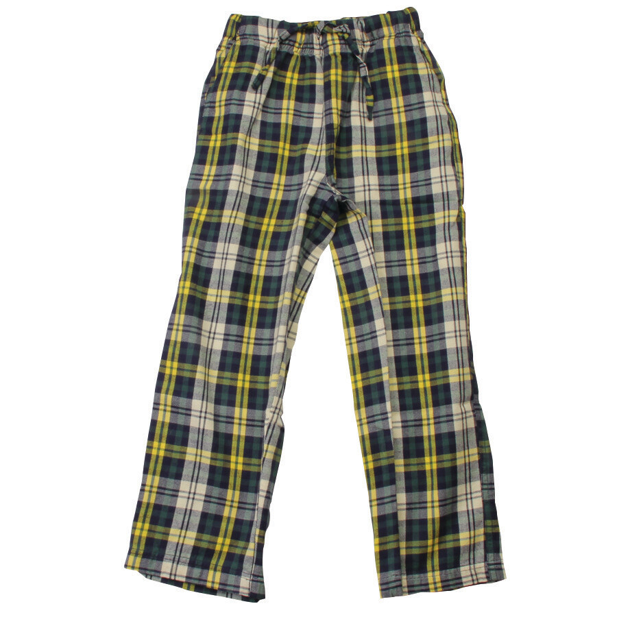 Boys Plaid Navy, Green and Yellow Light Flannel Pajama Lounge Pants Size 4 and 5