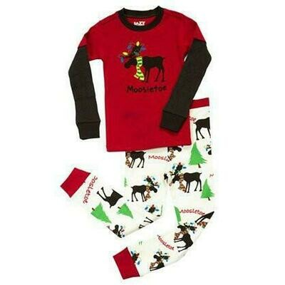 Mooseltoe Children's Pajama Set.  Size 2, 3, 4