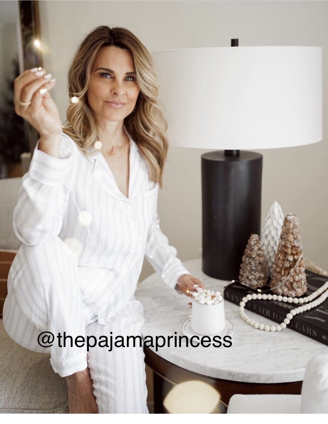 Luxe Long Sleeve Pajama Set White with Blue Stripe and Silver Lurex  NEW STOCK ARRIVALS