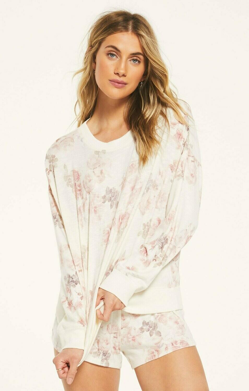 Rose Floral Lounge Long Sleeve Shirt   Size L