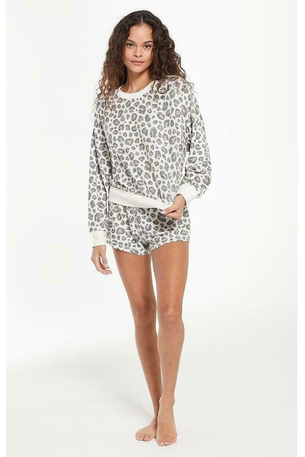 Leopard Lounge Long Sleeve Shirt   Size M, L, XL