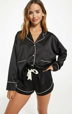 Loving our Women's Black Satin Pajama DrawString Short Set  -  Size XS