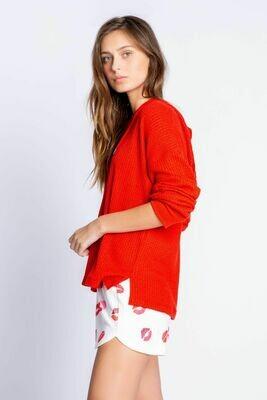 PJ Salvage Waffle Red PJ Lounge Long Shirt