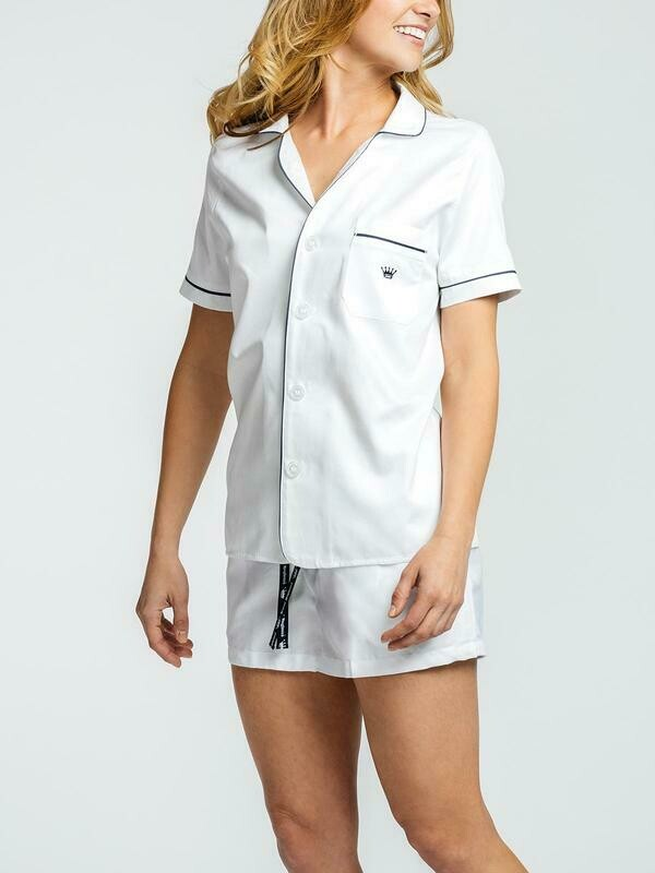 Royal Highney 400 Pima Cotton Ladies Short Sleeve Button Down Lounge Top