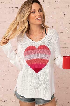 Rainbow Hearts on White Light Cotton Sweater 1 left SizeS/M,  M/L