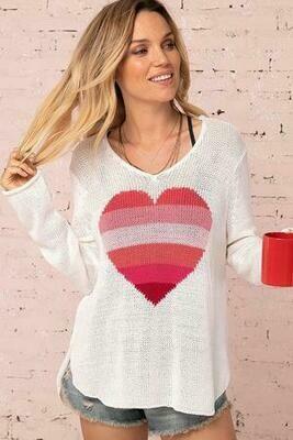 Rainbow Hearts on White Light Cotton Sweater 1 left SizeS/M Last One
