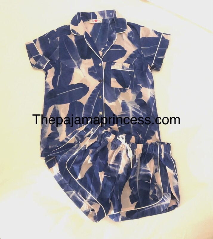 Blue and Pink Palm Button Down Pajama Short Set