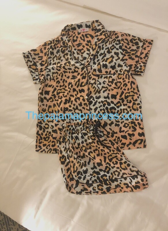 Brown and Light Blue Leopard Print Button Down Pajama Short Set
