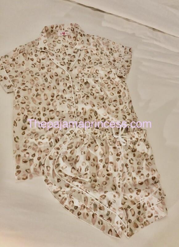 Leopard Print Button Down Pajama Short Set