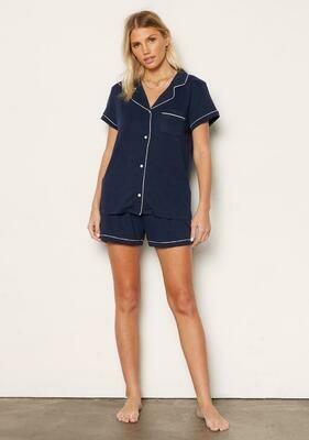 Navy Button Down Lounge Pajama Short Set Size M, L
