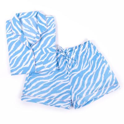 Blue Zebra Pajama Cotton Pajama Lounge Short Set