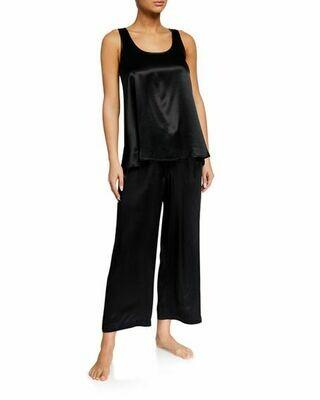 PJ Harlow Jolie Capri Navy, Red, Black, Morning Blue, Pearl Satin Pants -   A Great length for most, runs long