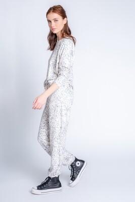 PJ Salvage Leopard Pajama Peachy Jersey Fabric Lounge Jogger Pants