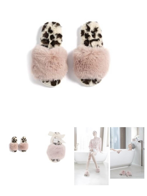 Women's Pink and Leopard Slide Faux Fur Slipper