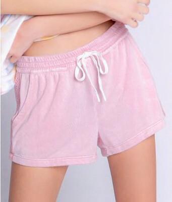 PJ Salvage Sunset Pink Draw String Crochet Shorts