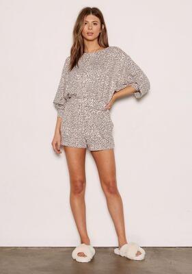 Pale Pink Leopard Grey Lounge Pajama Short Set