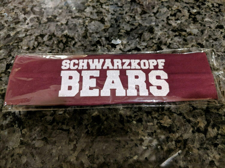 """Headband #1 Burgundy with """"Schwarzkopf Bears"""" in white"""