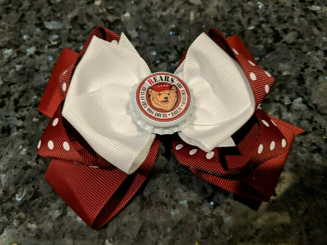 Bottle Cap Bow #1 Burgundy with white polka dots with white on top