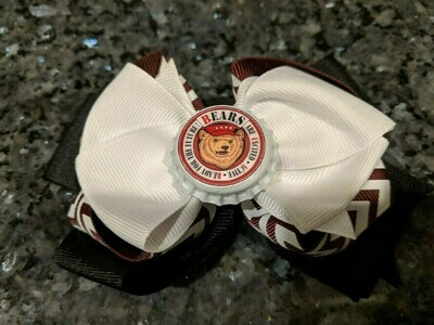 Bottle Cap Bow #2 Burgundy & white stripe