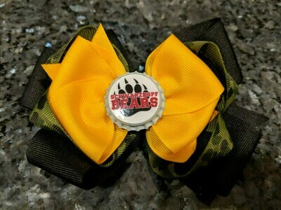 Bottle Cap Bow #4 Camo with yellow