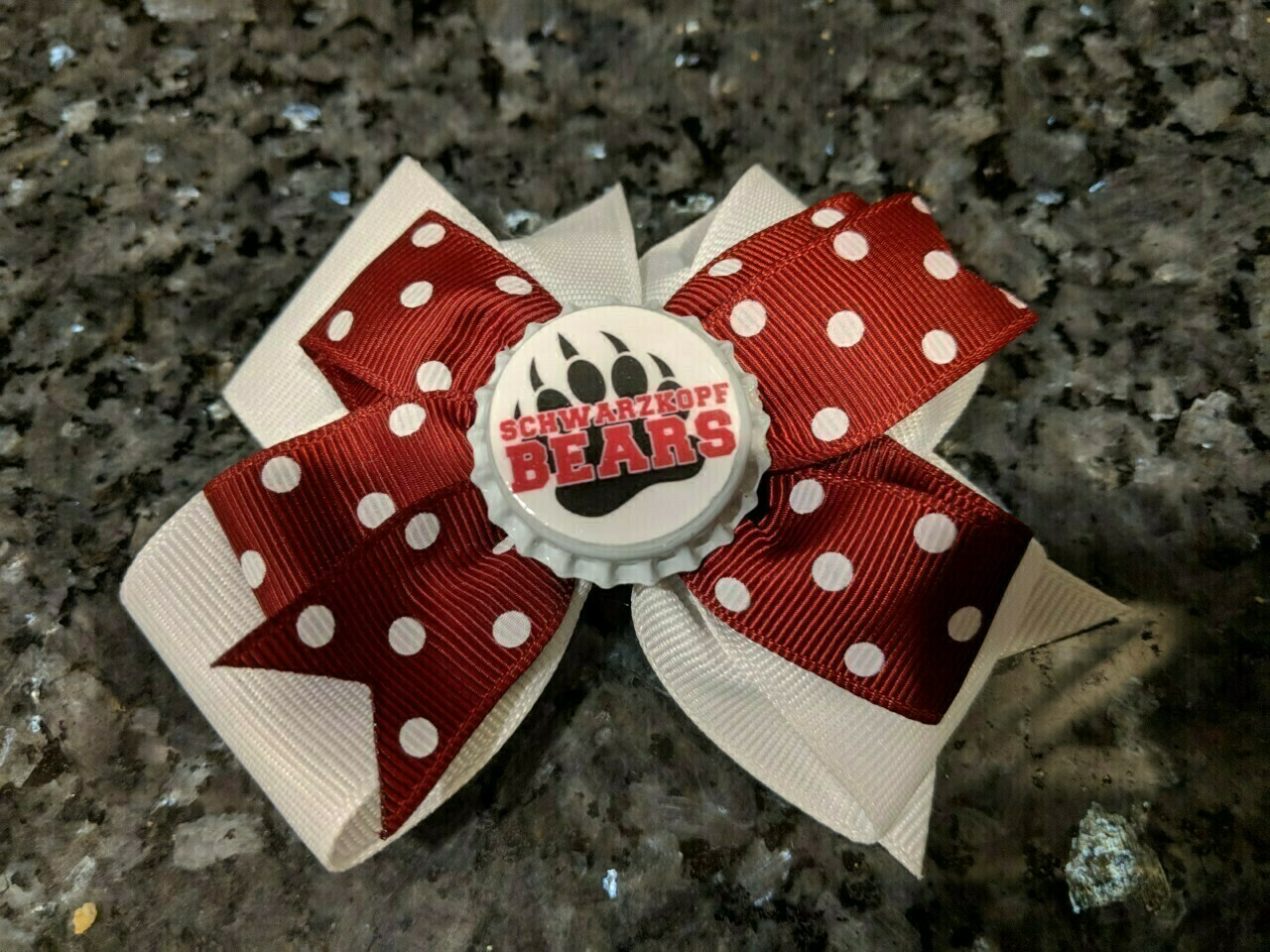 Bottle Cap Bow #3 White bottom with burgundy with white polka dots on top