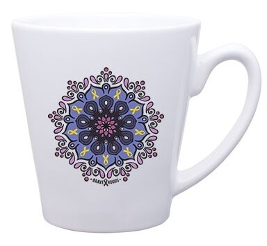 Mug -- Mandala with Tiny Cancer Ribbons