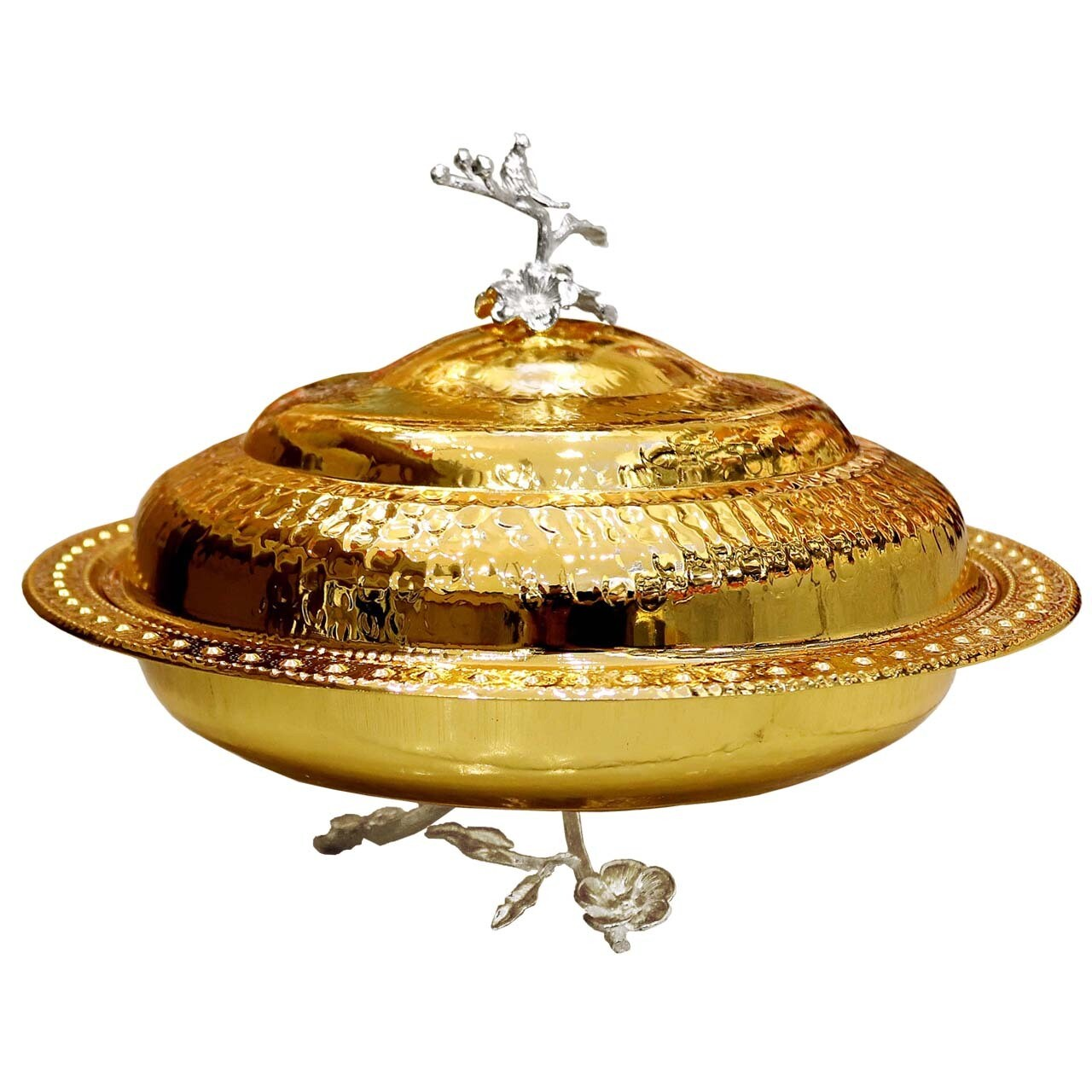 Stainless Steel Dessert Bowl With Lid Gold 39x39x22 centimeter