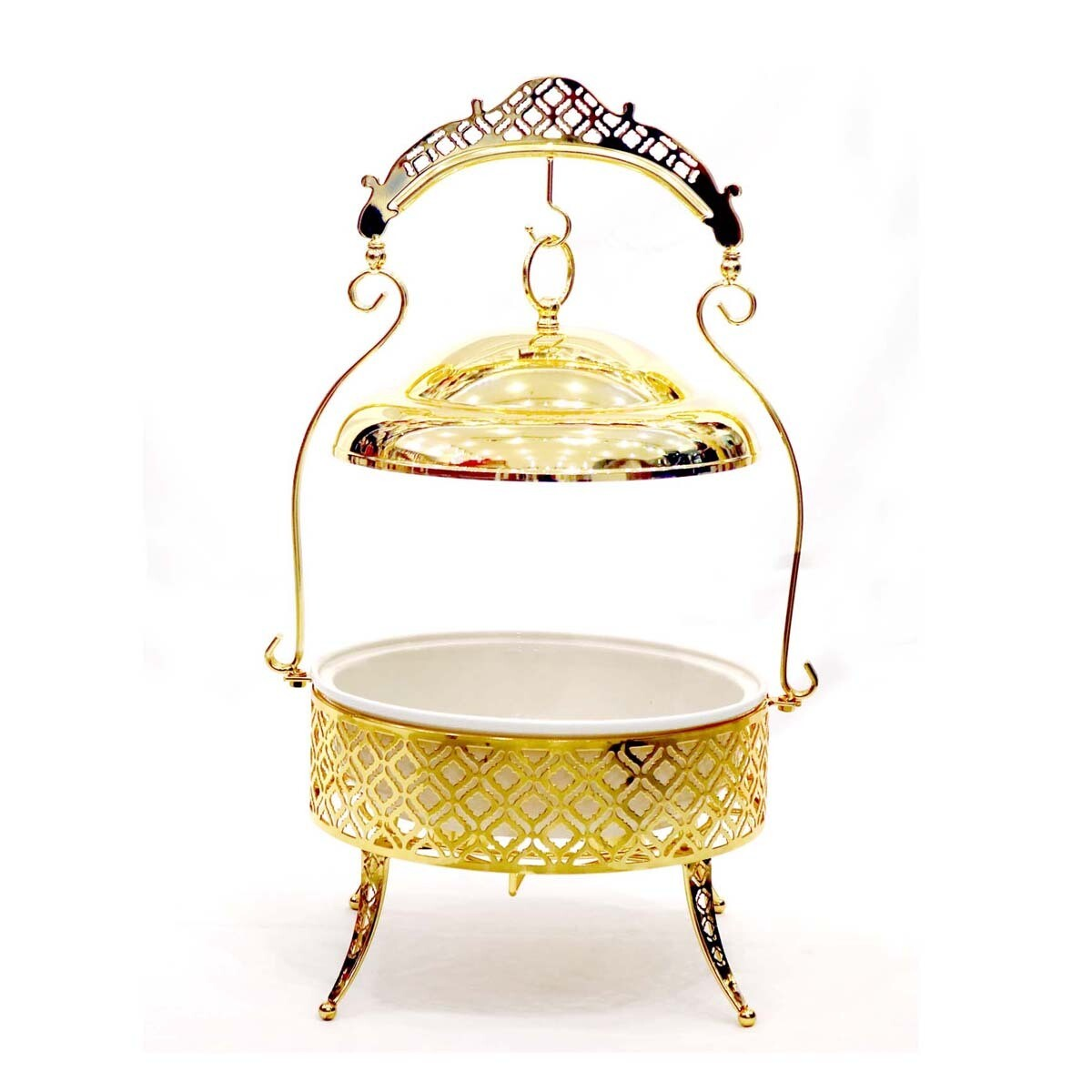 Food Warmer With Stand Gold 38 centimeter