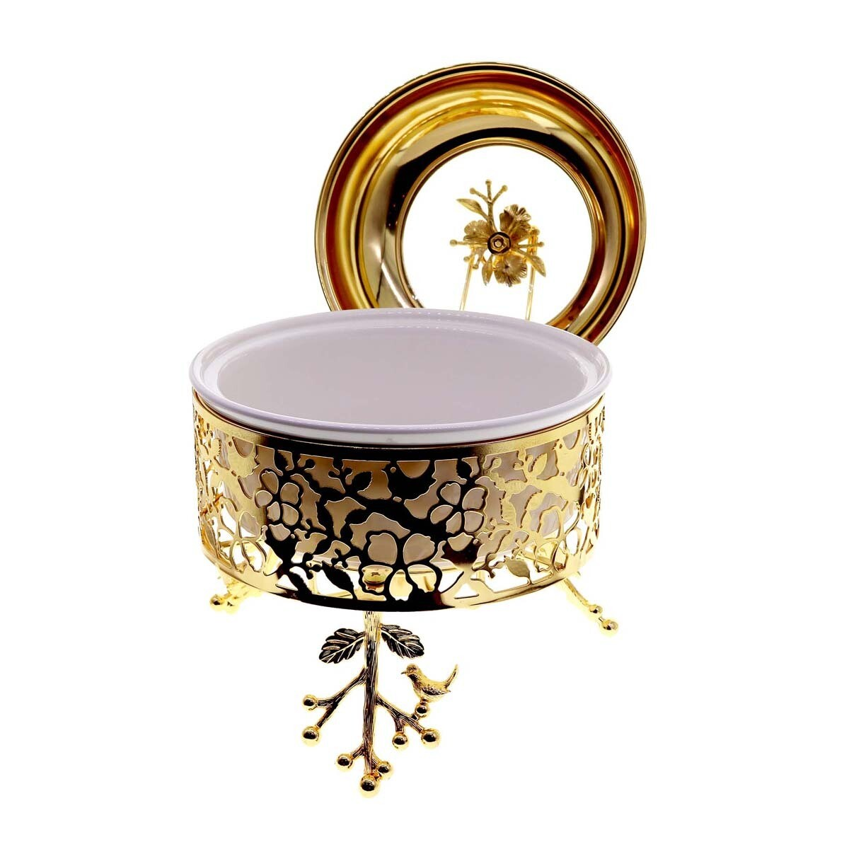 Liying Big Buffet Bowl with Cover and Food Server 31cm Diameter, Gold Gold 31X15X31 centimeter