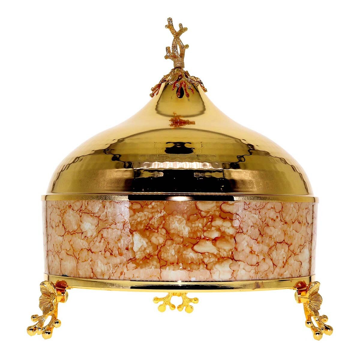 Liying Big Buffet Bowl with Cover and Food Server 26cm Diameter, Gold Multicolour 30x26x30 centimeter
