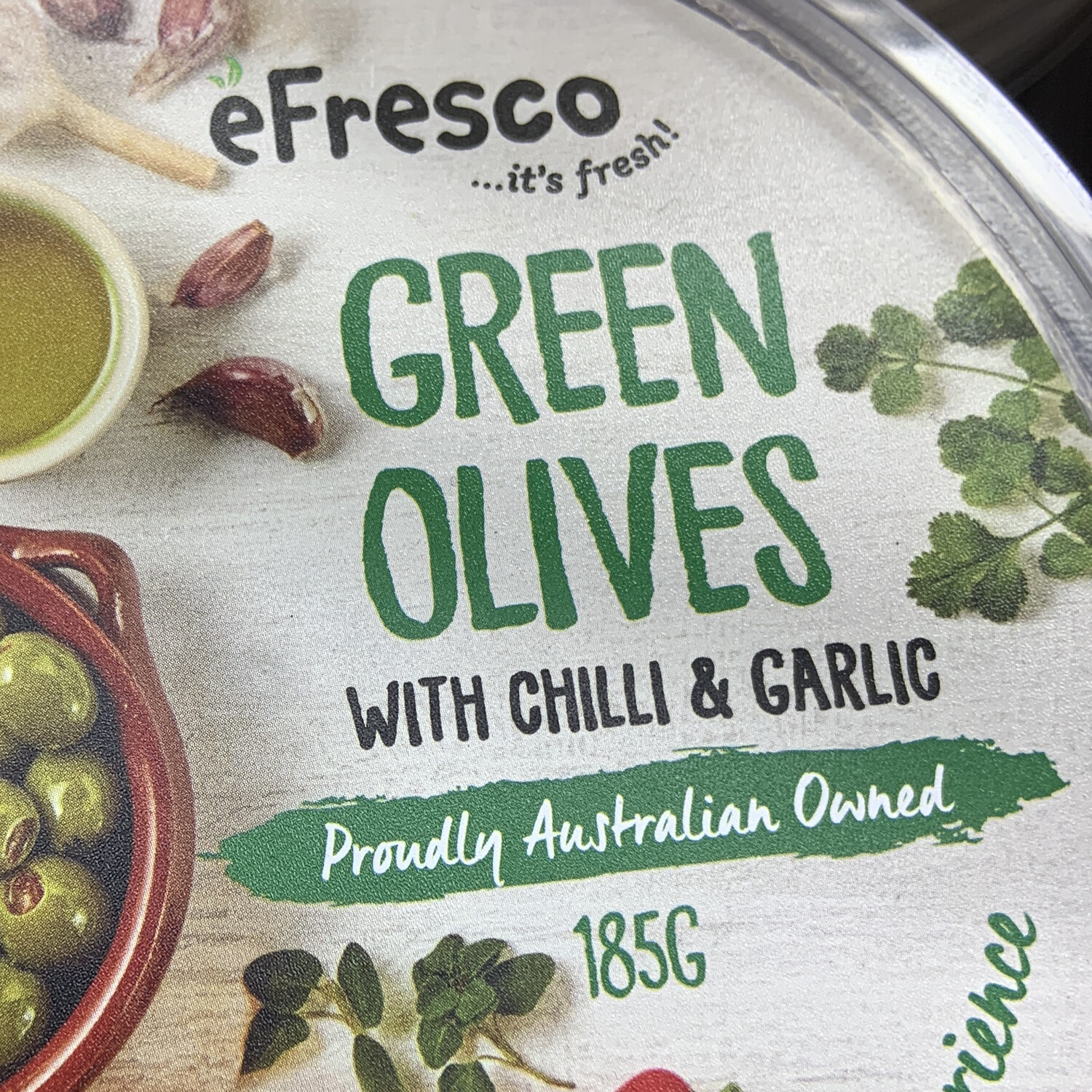 AUSFRESH ANTIPASTO - GREEN OLIVES WITH CHILLI AND GARLIC
