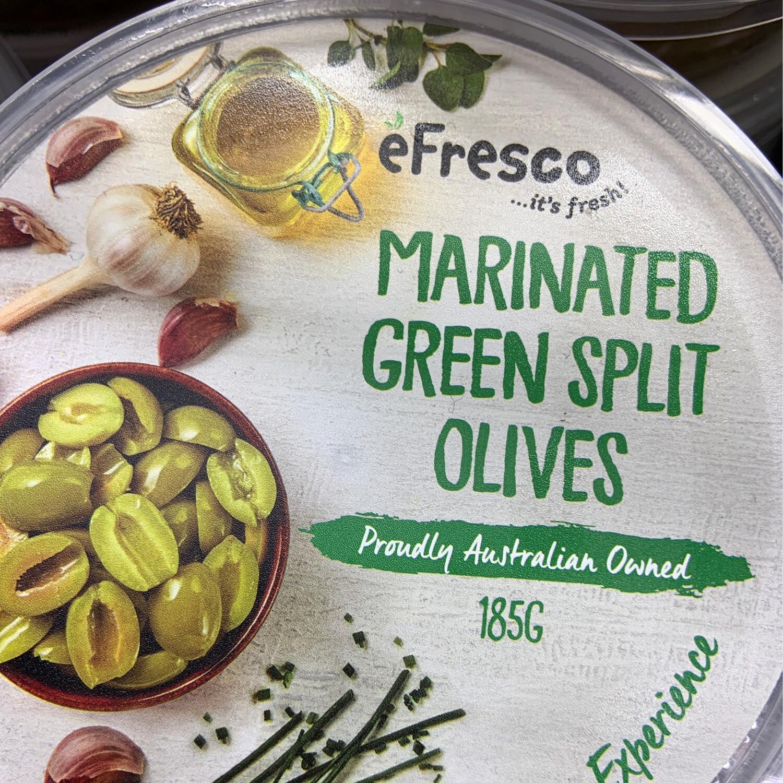 AUSFRESH ANTIPASTO - MARINATED GREEN SPLIT OLIVES