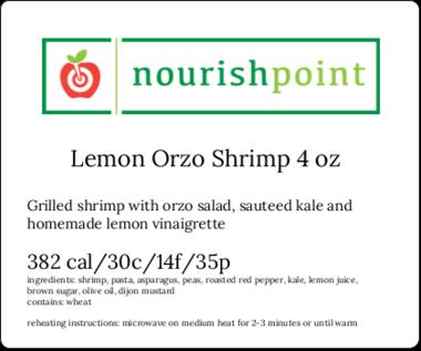 Lemon Orzo Shrimp 4 oz