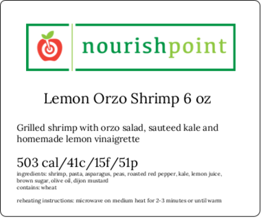 Lemon Orzo Shrimp 6 oz