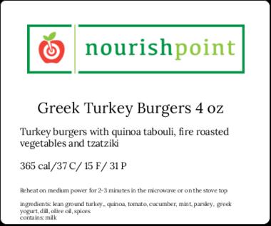 Greek Turkey Burgers 4 Oz