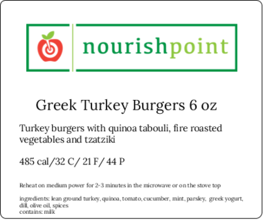 Greek Turkey Burgers 6 Oz