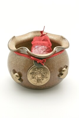Money Pot Set with Stone and Coins