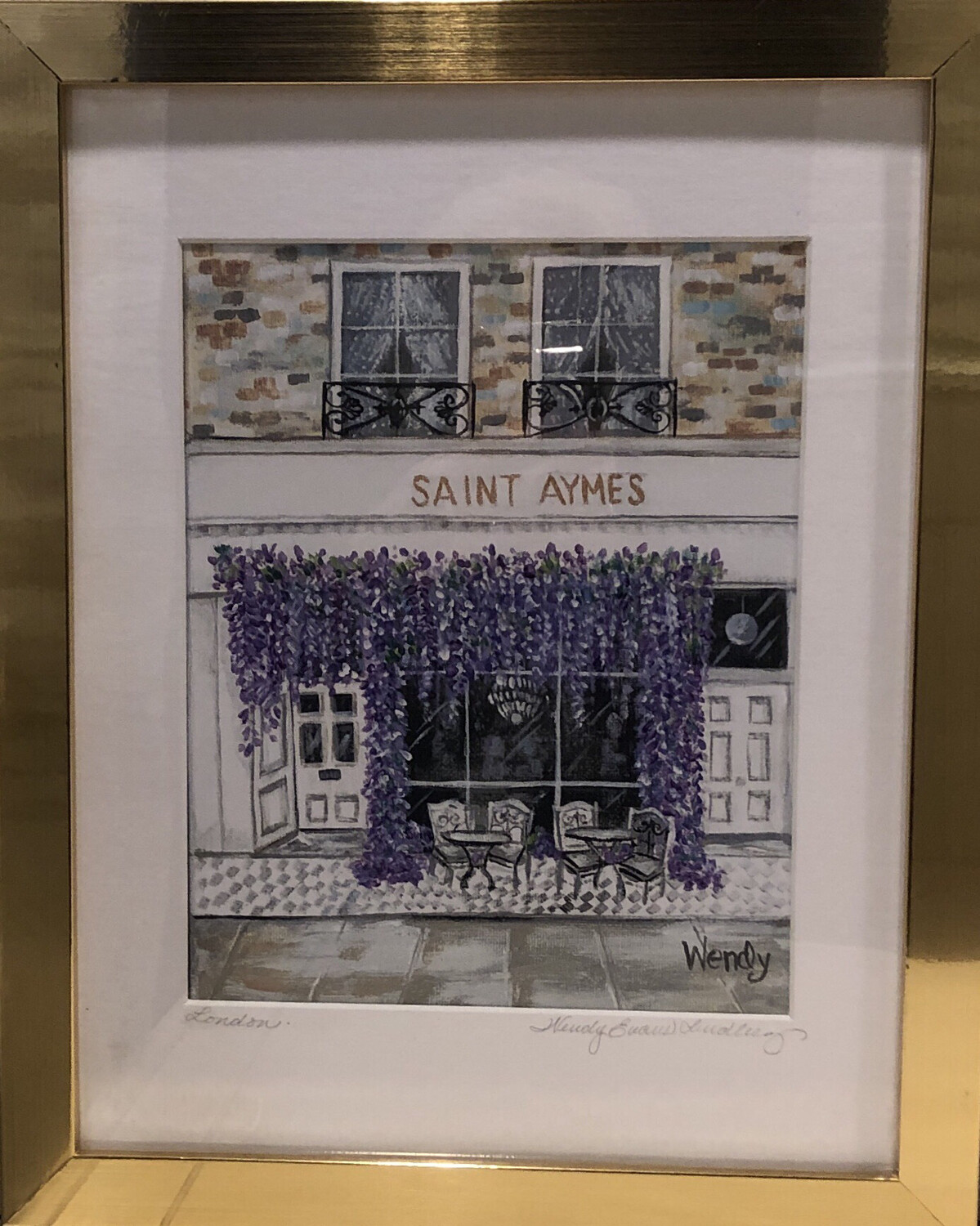 Saint Aymes Coffee Shop Front Framed Print