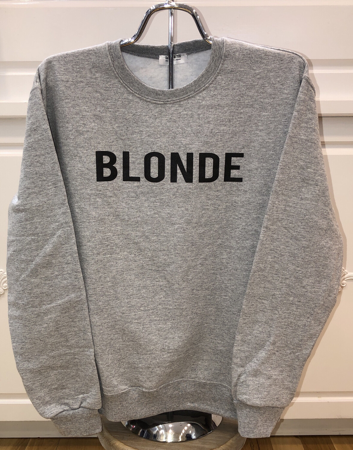 Blonde on Gray Sweatshirt