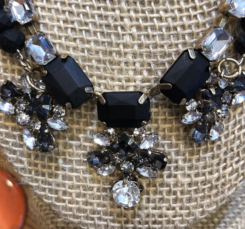 Black Gray Crystal Facet Bead Necklace