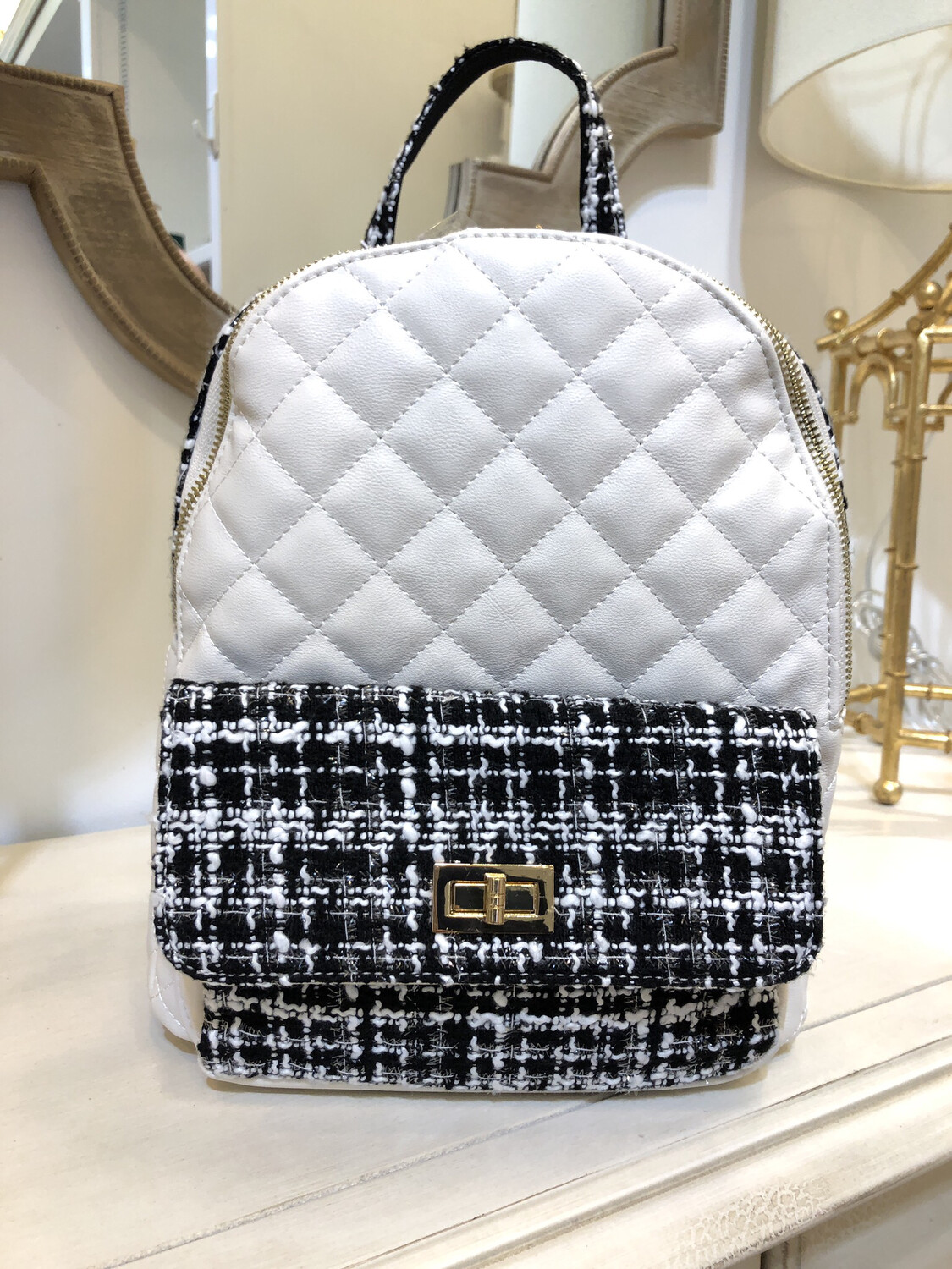 """Quilted Tweed """"Chanel"""" Style Backpack"""