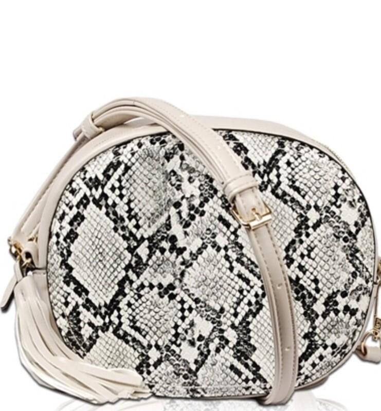 Snakeskin Tassel Zip Round Bag