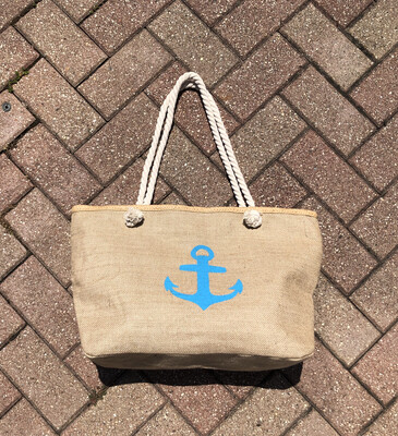Aqua Anchor Zip Beach Tote Bag