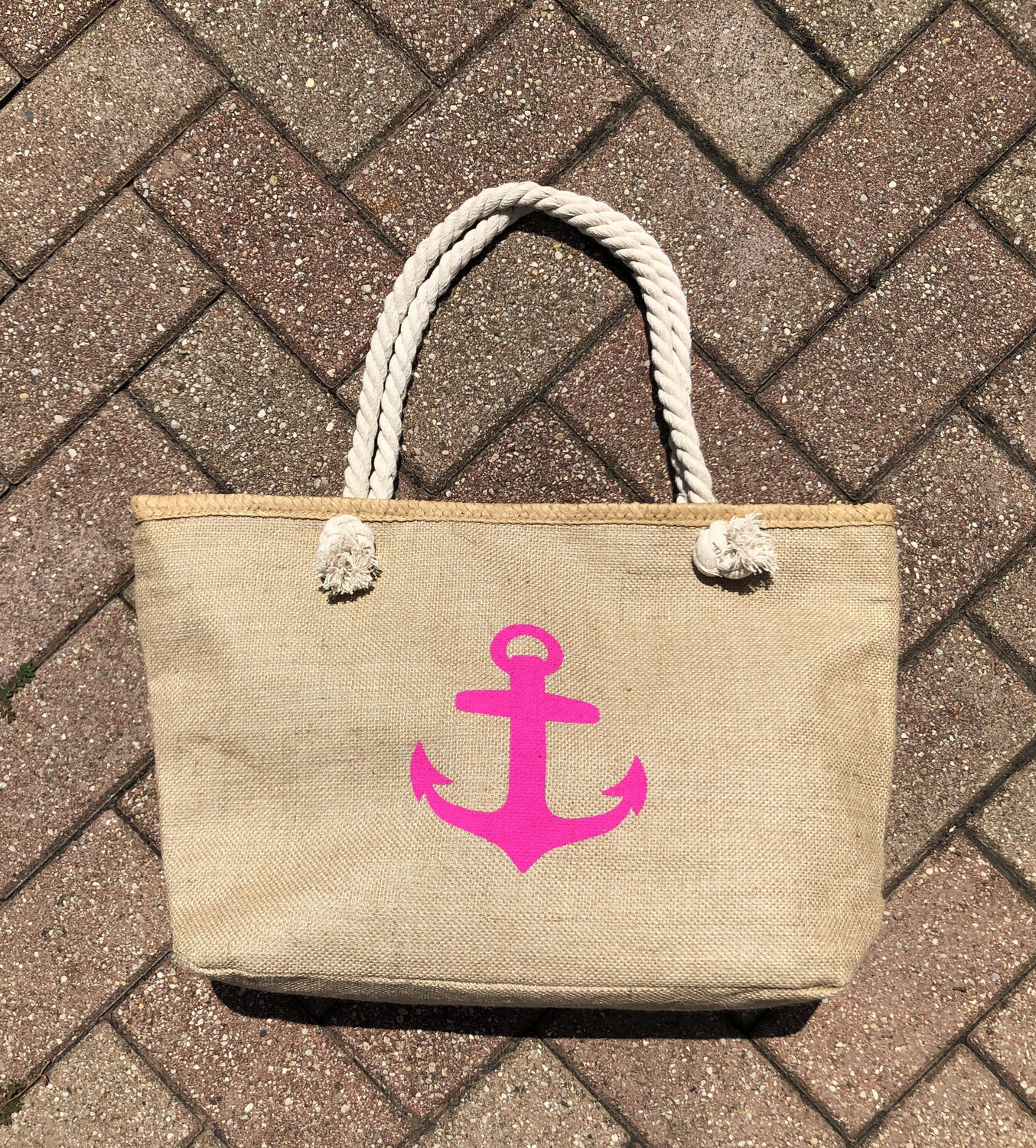 Hot Pink Anchor Beach Tote