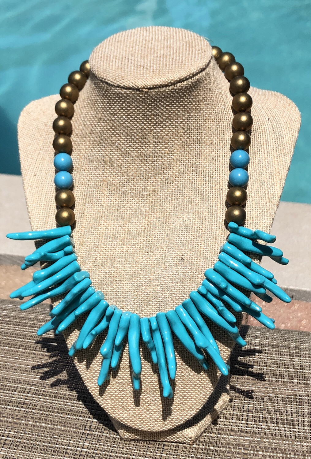 "Turquoise & Gold ""Coral"" Necklace"