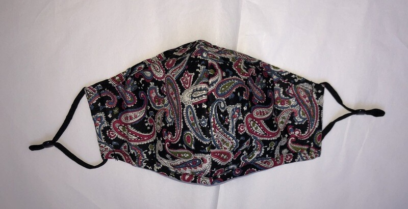 Black Paisley Face Mask With Filter Pocket